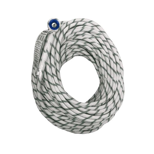 Cuerda y Línea de vida vertical certificada 11mm 34KN de únicamente con ojo cosido plástico, 100% poliamida trenzada. Construcción Kernmatle.