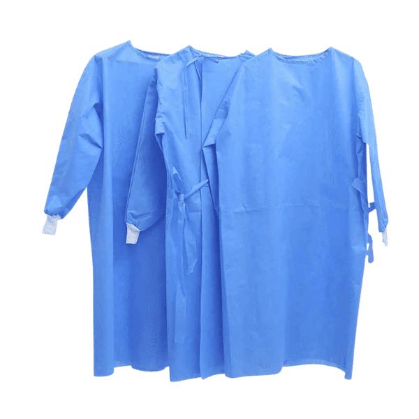 La bata quirúrgica desechable está hecha en textil no tejido azul