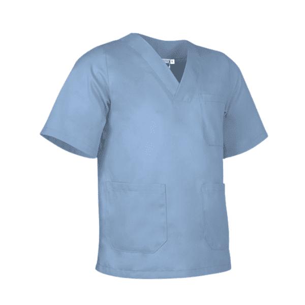 Bata antifluida lavable unisex para hombre y mujer azul delfín para todos los sectores, Servicios generales, médico, enfermería, hospitalario, consulta externa