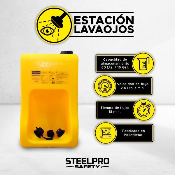 Lavaojos Ducha de Emergencia Portátil Steelpro